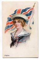 CPA   Illustrateur  : Jeune Femme Au Drapeau  Royaume Uni  UK    Militaria    A  VOIR  !!!!!!! - 1900-1949