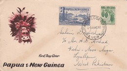1960 PAPUA AND NEW GUINEA TO PAKISTAN COVER WITH CACAO KLINKI PLYMILL STAMPS FDC - Papouasie-Nouvelle-Guinée