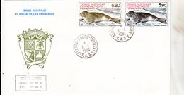 TAAF 107 108 Phoque Crabier Cachet De Crozet  1er Jour D'utilisation - Storia Postale