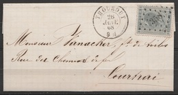 L. Affr N°17c Bleuté Lpts 358 Càd THOUROUT /26 JANV 1868 Pour COURTRAI (au Dos: Càd COURTRAI) - 1865-1866 Linksprofil