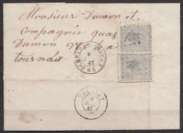 L. Affr N°17x2 Lpts 345 (?) Càd SCHELDEWINDEKE /8 JUIL 1867 Pour TOURNAY - 1865-1866 Linksprofil