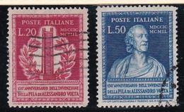 1949 Italia - Italy Repubblica ALESSANDRO VOLTA Serie Di 2v. Usato USED - Elettricità