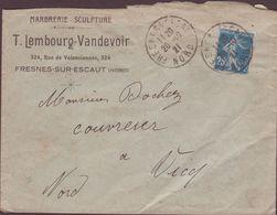 ENVELOPPE TIMBRE   1921 FRESNES SUR ESCAUT  VOIR TIMBRES ET CACHETS - France