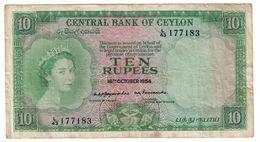 Ceylon 10 Rupees 16/10/1954 .J. - Sri Lanka