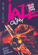 Carte Publicitaire - Jazz à Cluny (71) Tromboniste à L'instrument - 22-29 Aout 1998 - Programme Au Verso - Musique Et Musiciens