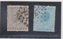 BELGIQUE    1865-66  Y.T. N° 17  18  Oblitéré - 1865-1866 Linksprofil