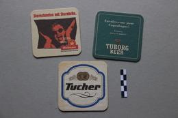 Lot De 3 Sous-bocks : 1 Hürlimann, 1 Tuborg, 1 Tucher - Beer Mats