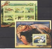 D272 2009 DE GUINEE FAUNA REPTILES PREHISTORIC ANIMALS DINOSAURES 1KB+1BL MNH - Prehistorics