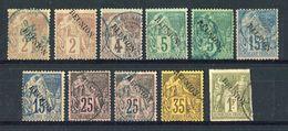 REUNION  1891  OBLITERES  /  YVERT N° ???   -   11 VAL. - Reunion Island (1852-1975)