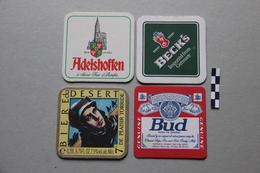 Lot De 4 Sous-bocks : Adelshoffen, Beck's, Bière Du Désert, Bud - Beer Mats