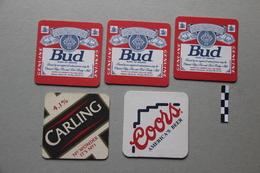 Lot De 5 Sous-bocks : 3 Bud, 1 Carling, 1 Coors - Beer Mats