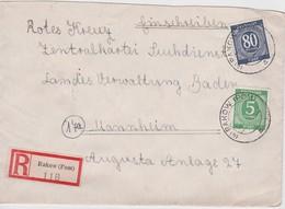 ALLEMAGNE    ZONE A.A.S.  1946 LETTRE RECOMMANDEE DE RAKOW AVEC CACHET ARRIVEE MANNHEIM - Amerikaanse, Britse-en Russische Zone