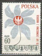 POLAND MNH ** 1850 AIGLE FLEUR ANNIVERSAIRE DE L'ANNEXION DES REGIONS NORD ET OUEST - 1944-.... République
