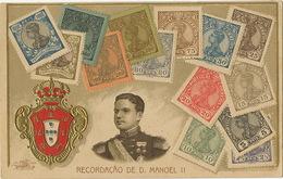 Recordaçao De D. Manoel II Carte Philatelique Gaufrée Litho De Loule Porto Embossed - Portugal