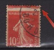Variété Du 10c Semeuse Rouge N° 138 Oblitéré Variété De Piquage à Cheval - Errors & Oddities