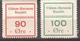 Denmark Local Railway Parcel. Uldum-Horsens. Lot Of 2 Stamps ./Railways/Eisenbahnmarke - Trains