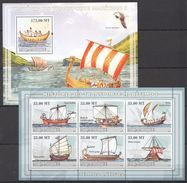D291 2009 MOCAMBIQUE SHIPS HISTORIA TRANSPORTE MARITIMO 1 1KB+1BL MNH - Schiffe