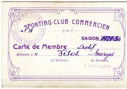 Carte De Membre Sporting Club Commercien Football Commercy 1929 - Cartes