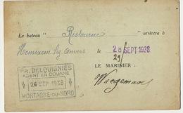 """Carte SA Construction Paris 9 Pigalle Peniche """" Ristourne """" Vers Hemiksem Agent Douane Mortagne Du Nord - Hemiksem"""