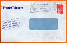 10 ARCIS S/ AUBE   DANTON   1999 Lettre Coupée N° HH 474 - Postmark Collection (Covers)
