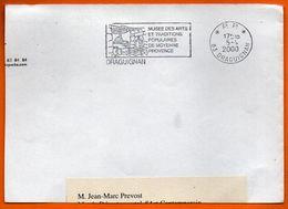 83 DRAGUIGNAN   ARTS POPULAIRES      2000 Lettre Coupée N° HH 481 - Postmark Collection (Covers)