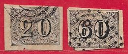 Brésil N°12A 20r & N°14A 60r Noir (faux) 1850 O - Used Stamps