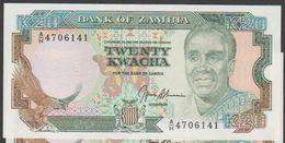 ZAMBIA 20 Kwacha ND (1989-1991)  SERIAL# AH  P# 32b   UNC - Zambie