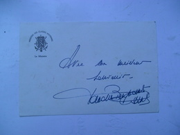 Kaart Met Handtekening Van  Van Den Boeynants Paul - Autographes