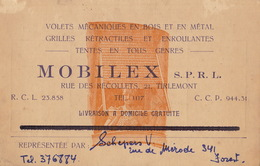 Carte MOBILEX à Tirlemont Dimension Au Dos - Publicités