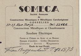 Carte SOMECA Constructions Mécaniques Carolorégienne à Gosselies Van Buggenhout - Publicités