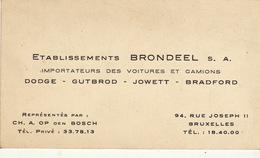 Carte Blondeel Voiture Camion Dodge Gutbrod Jowett Bradford - Publicités