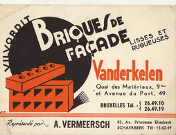 Carte Brique Vanderkelen Bruxelles Vermeersch Schaebeek Vilvordit - Publicités