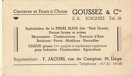 Carte Carrières Et Fours à Chaux Goussez à Soignies Pierre Bleue Carrière - Publicités