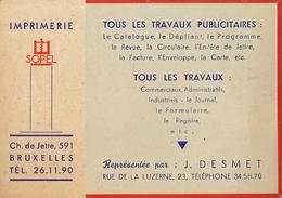 Carte Imprimerie  SOPEL à Bruxelles - Publicités