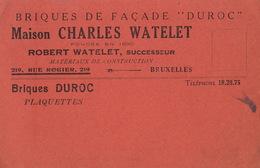 Carte Brique Briqueterie Watelet à Bruxelles Illustrations DUROC Au Dos - Publicités