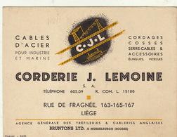 Carte Corderie Corde Cable Pour Industrie Et Marine Lemoine à Liège - Publicités