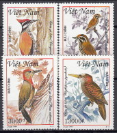 Vietnam 1999 (MNH) - Yv 1831/4 - Greater Flameback / Speckled Piculet / Red-collared Woodpecker / Bay Woodpecker - Climbing Birds