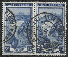Timbro Tondo FIRENZE N.22 (PORTA AL PRATO) 8-8-51 - 55 Lire Coppia, Italia Al Lavoro - 6. 1946-.. Repubblica
