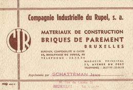 Carte Compagnie Industrielle Du Rupel Brique Matériaux Schatteman Bruxelles - Publicités