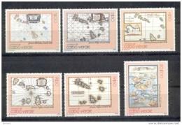 1988 Cape Verde Cabo Verde Kap Verde - Old Maps 6v., Mapas, Landkaart, Cartography ,cartes Anciennes, Michel 535/40 MNH - Aardrijkskunde