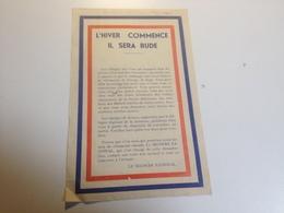 Le Secours National, 1940/ 1941,  Collecte De Vêtements Chauds, Document - Historical Documents