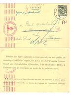 TP 425 S/CP C.Leuven 17/11/1941 V.Wien Deutsches Reich) Censure De Cologne & Retour Zurück  1613 - Guerre 40-45