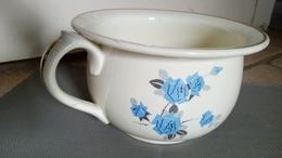 RARE - Luneville Lorraine - Authentique Pot De Chambre Faïence Opaque - Decor Fleurs Bleues - France Ca.1940 - Non Classés