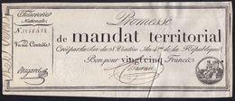 "SUPERBE !! PROMESSE "" MANDAT TERRITORIAL "" 25 Francs Du 28 Ventôse L'an 4 - Signé Bugarel - SANS Nr. DE SERIE - RARE ! - Assignate"