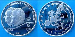 BELGIO 5 E 1997 ARGENTO PROOF SILVER PRINCIPI 2 BELGIQUE BELGIE BELGIEN ECU CORONA PESO 22,85g TITOLO 0,925 CONSERVAZION - Belgio