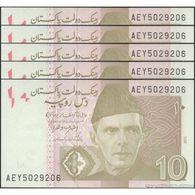 TWN - PAKISTAN 45j - 10 Rupees 2015 DEALERS LOT X 5 - Prefix AEY - Signature: Ashraf Mahmood Wathra UNC - Pakistan