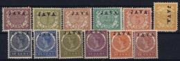 Netherlands East Indies : NVPH Nr 63a - 78a  MH/* Flz/ Charniere 3 Cent Has A Tear  Java High Printed  Hoogstaand - Niederländisch-Indien