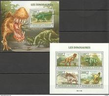 H167 2013 BURUNDI PREHISTORIC ANIMALS DINOSAURES 1KB+1BL MNH - Prehistorics