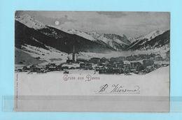 GRUSS AUS DAVOS → Vollmond-Karte Anno 1899 - GR Graubünden