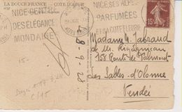 1928 France 06 Alpes Maritimes Nice N.Dame Carte Postale Flamme 'Nice Centre Des Elegances Mondaines' - Postmark Collection (Covers)